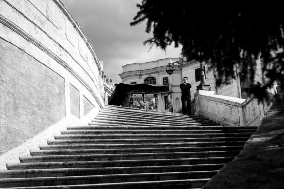 Spanish Steps with a lone shopkeeper , Rome < Italy , Just before Italy Lockdown March 2020